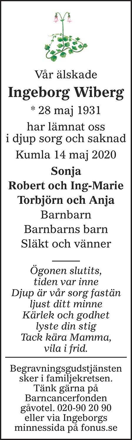 Ingeborg Wiberg Death notice