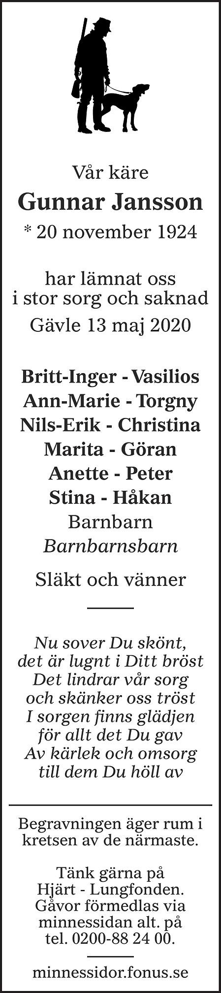 Gunnar Jansson Death notice