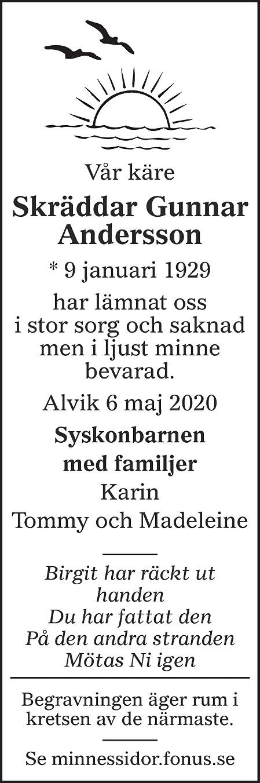 Skräddar Gunnar Andersson Death notice