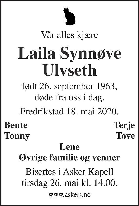 Laila Synnøve Ulvseth Dødsannonse