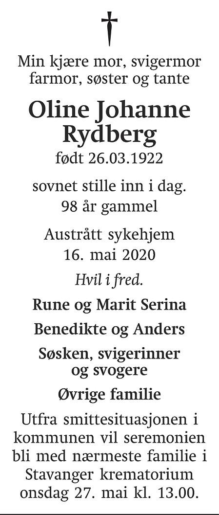 Oline Johanne Rydberg Dødsannonse