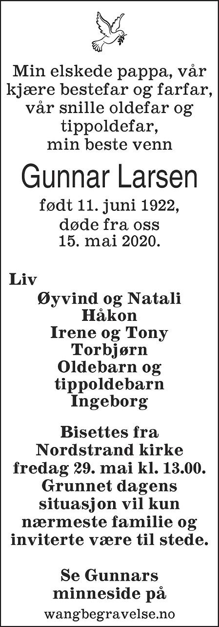 Gunnar Larsen Dødsannonse