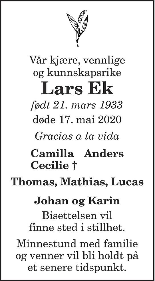 Lars Ek Dødsannonse