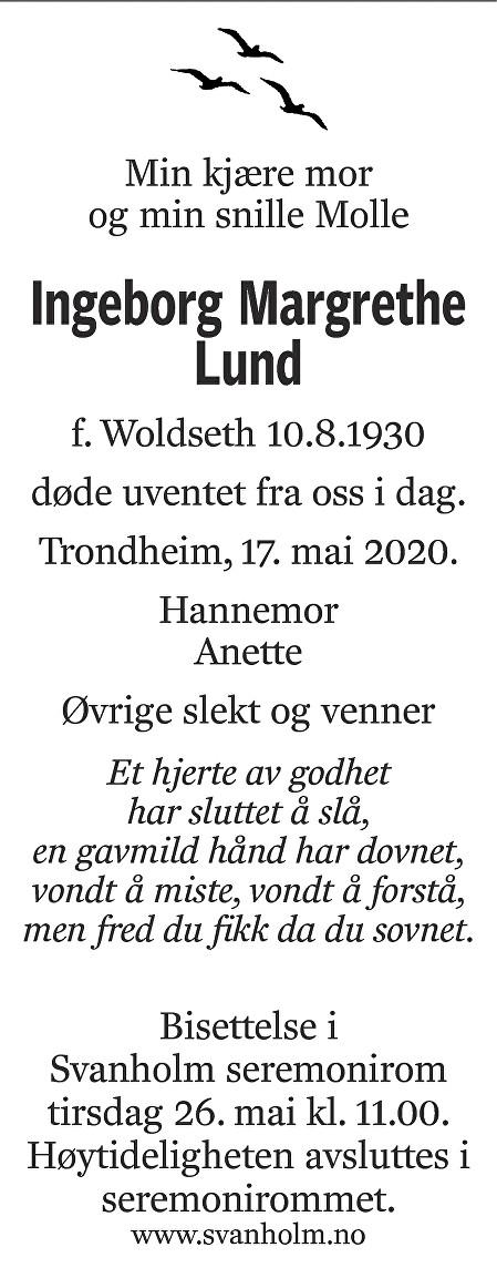 Ingeborg Margrethe Lund Dødsannonse