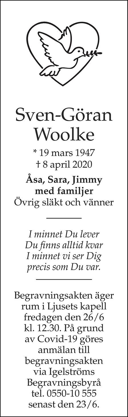 Sven-Göran Woolke Death notice