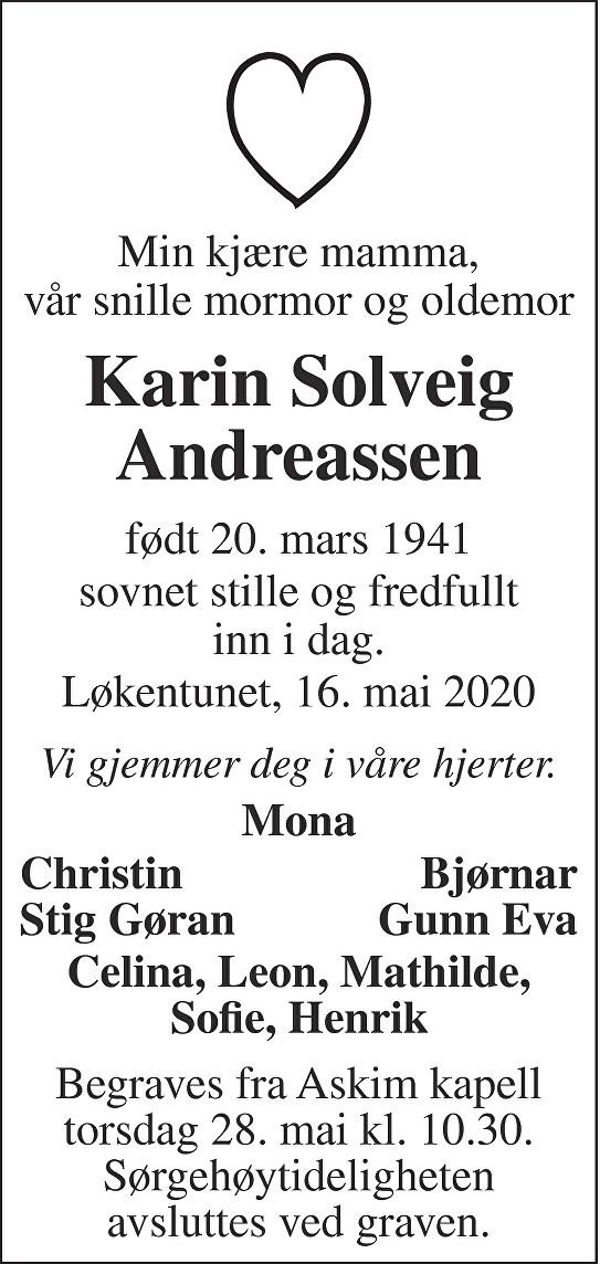 Karin Solveig Andreassen Dødsannonse