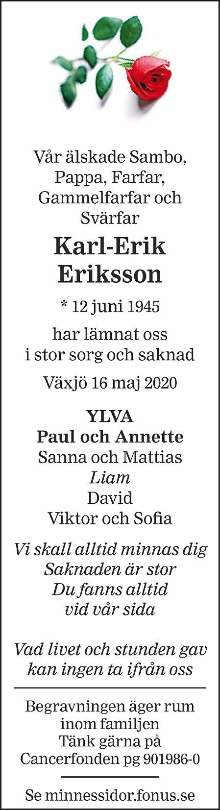 Karl-Erik Eriksson Death notice