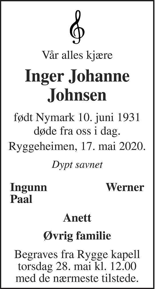 Inger Johanne Johnsen Dødsannonse