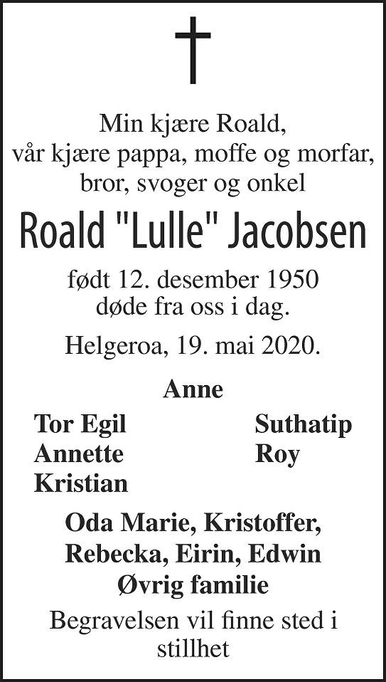 Roald Jacobsen Dødsannonse
