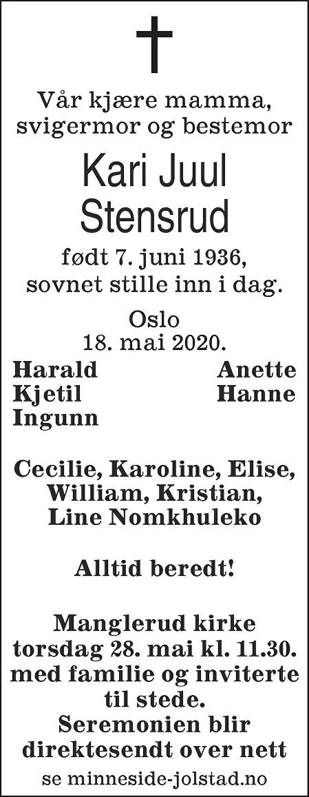 Kari Juul Stensrud Dødsannonse