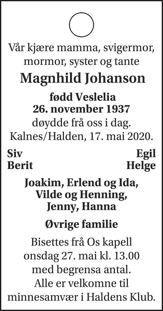 Magnhild Johanson Dødsannonse