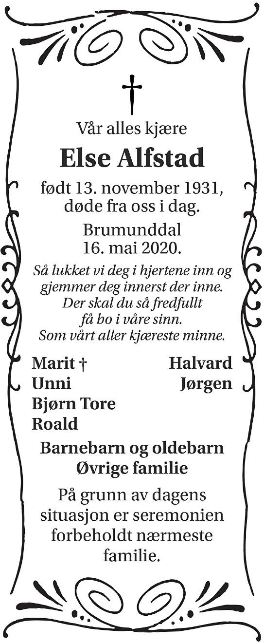 Else Alfstad Dødsannonse