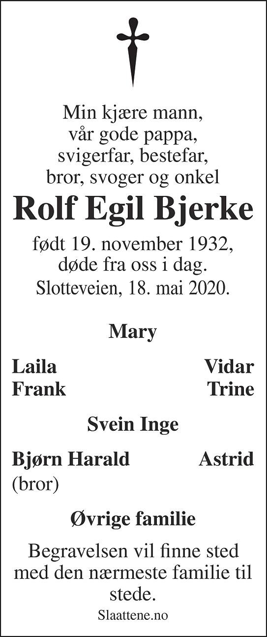 Rolf Egil Bjerke Dødsannonse