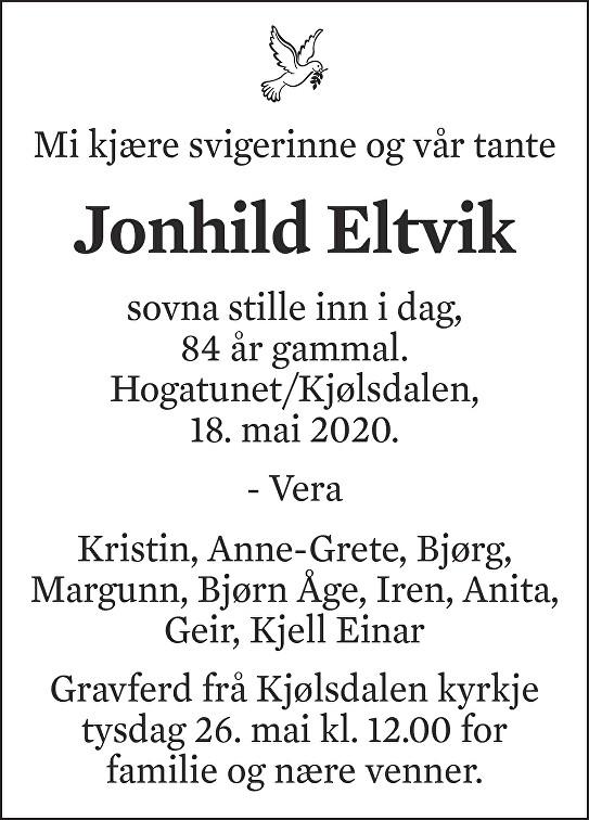 Jonhild Eltvik Dødsannonse