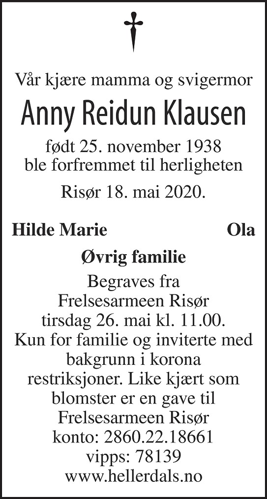 Anny Reidun Klausen Dødsannonse