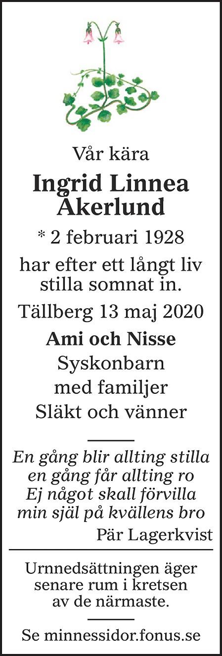 Ingrid Åkerlund Death notice