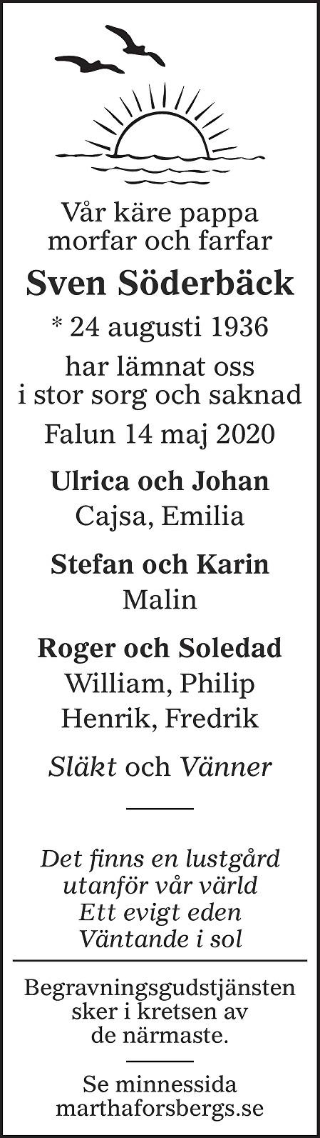 Sven Söderbäck Death notice