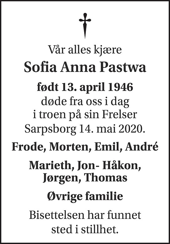Sofia Anna Pastwa Dødsannonse