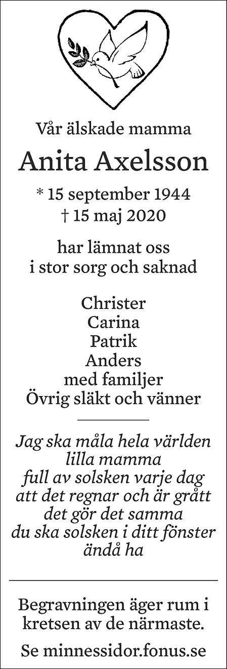 Anita Axelsson Death notice