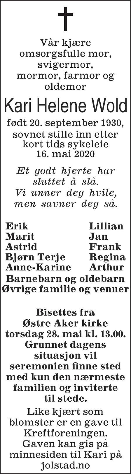 Kari Helene  Wold Dødsannonse
