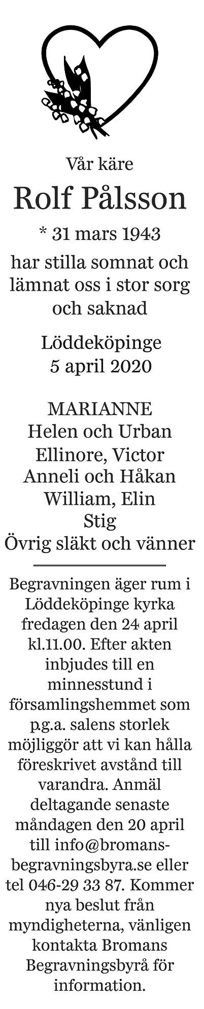 Rolf Pålsson Death notice