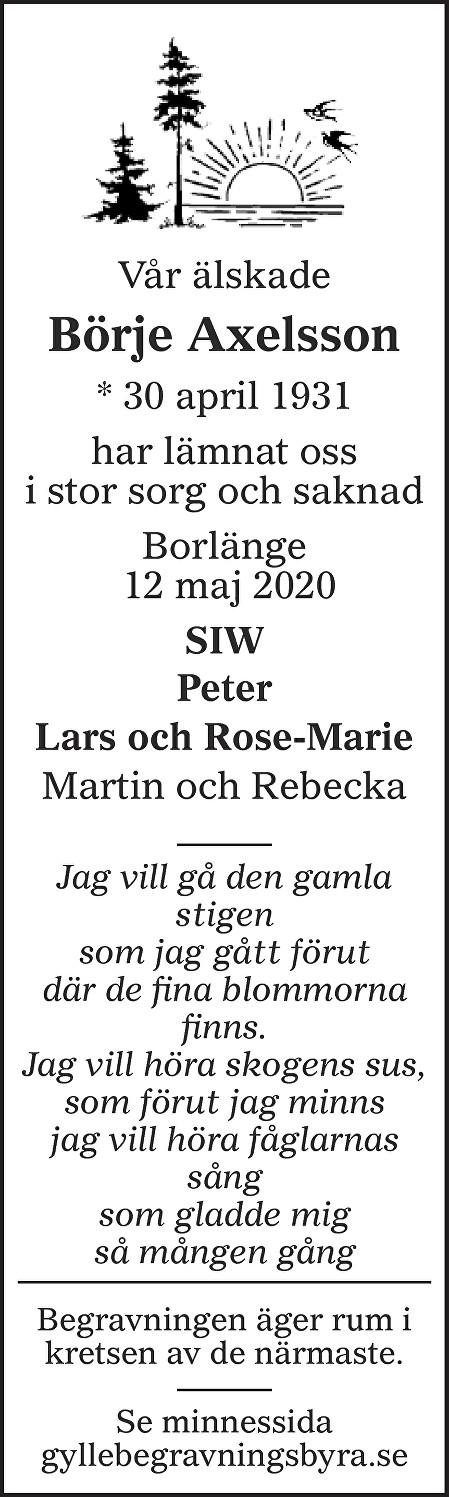 Börje Axelsson Death notice