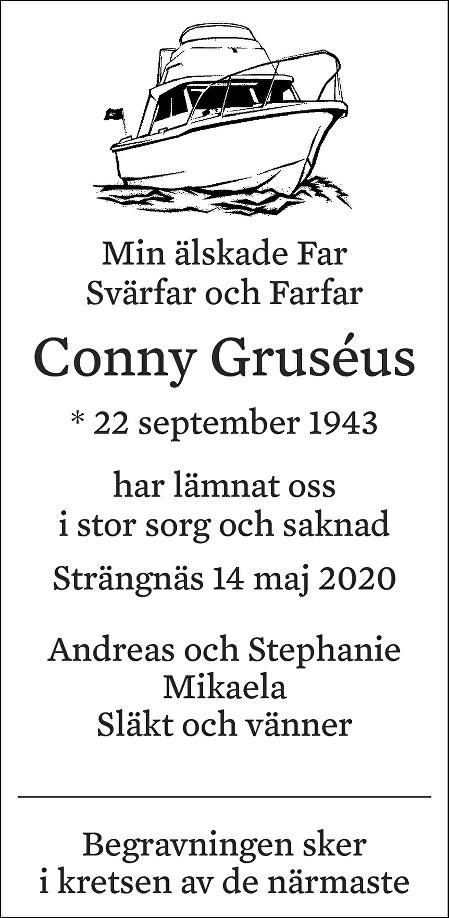Conny Gruséus Death notice
