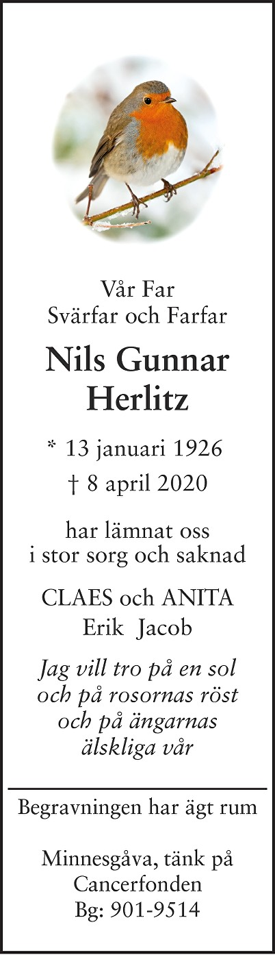 Nils  Herlitz Death notice