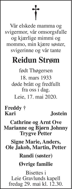 Reidun Klara Strøm Dødsannonse