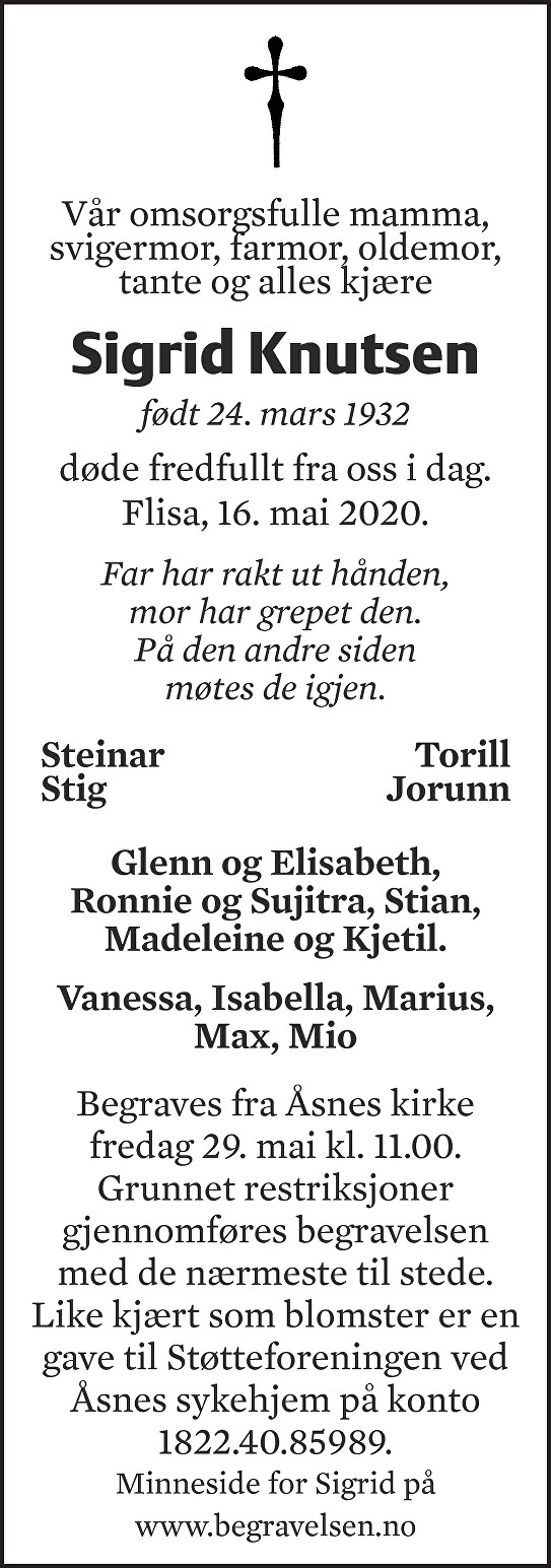 Sigrid Ingegerd Knutsen Dødsannonse