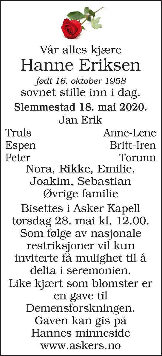 Hanne Eriksen Dødsannonse