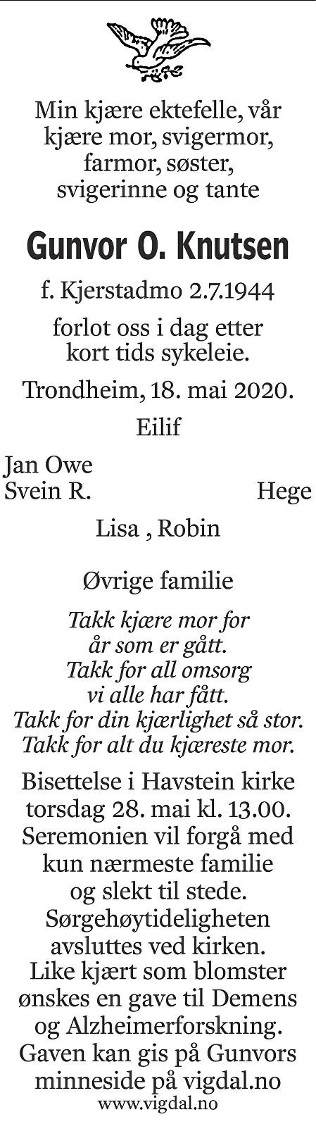 Gunvor Oline Kjerstadmo Knutsen Dødsannonse