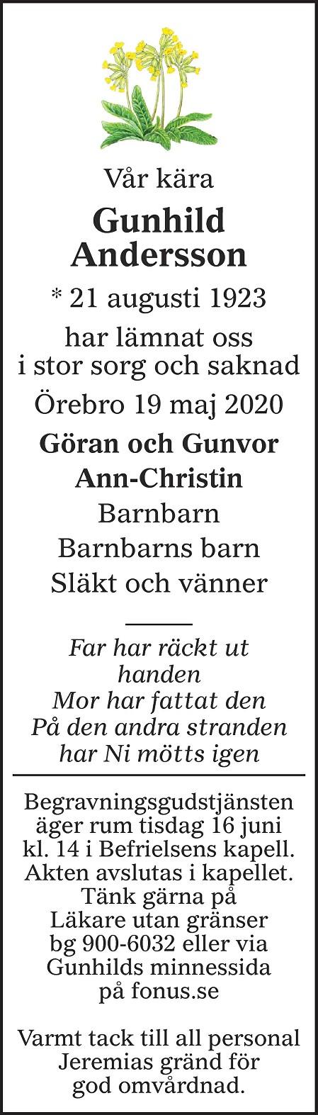 Gunhild Andersson Death notice
