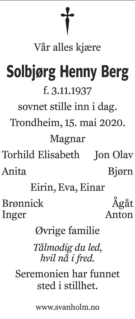 Solbjørg Henny Berg Dødsannonse