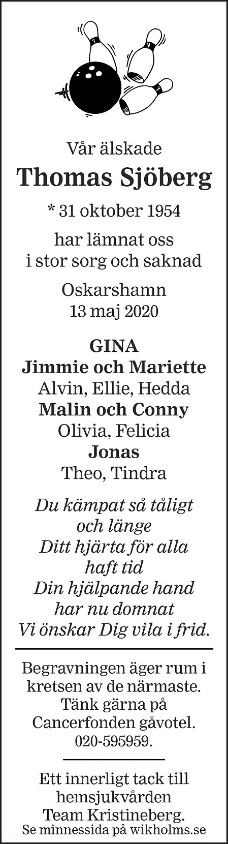 Thomas Sjöberg Death notice