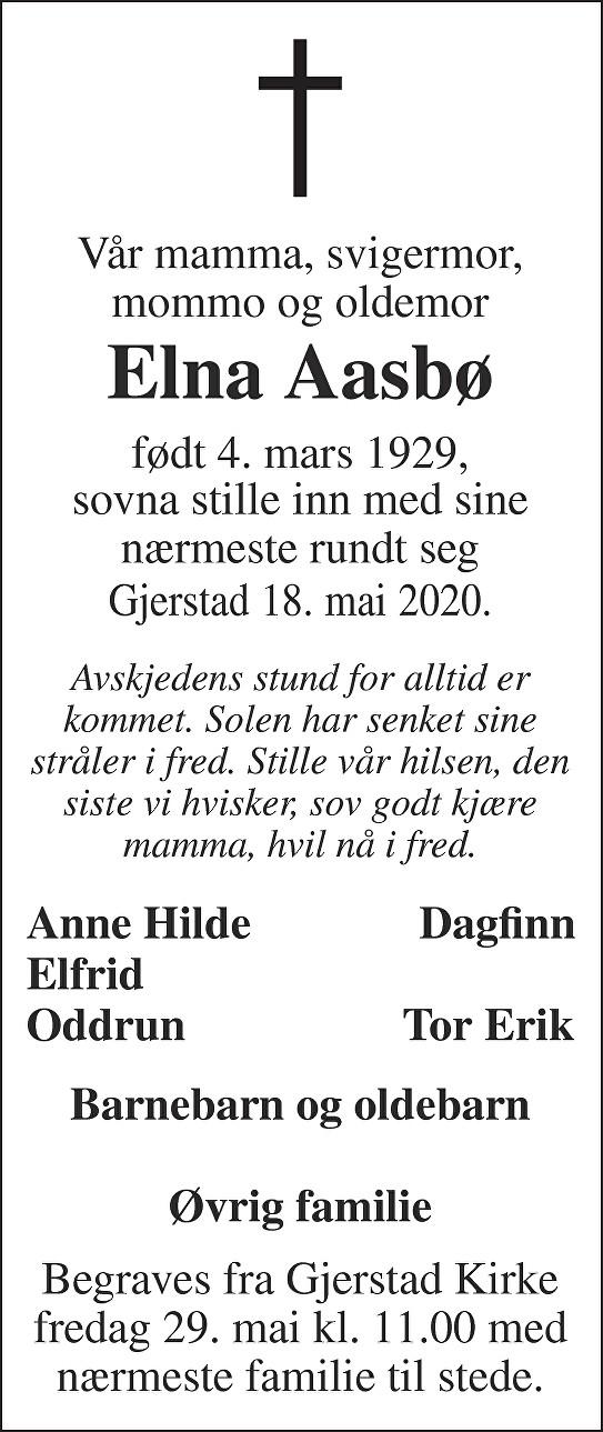 Elna Aasbø Dødsannonse