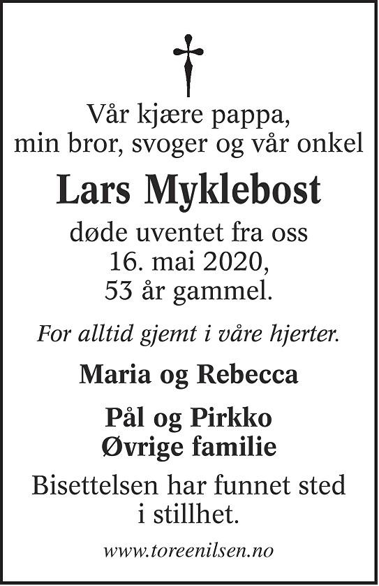 Lars Myklebost Dødsannonse