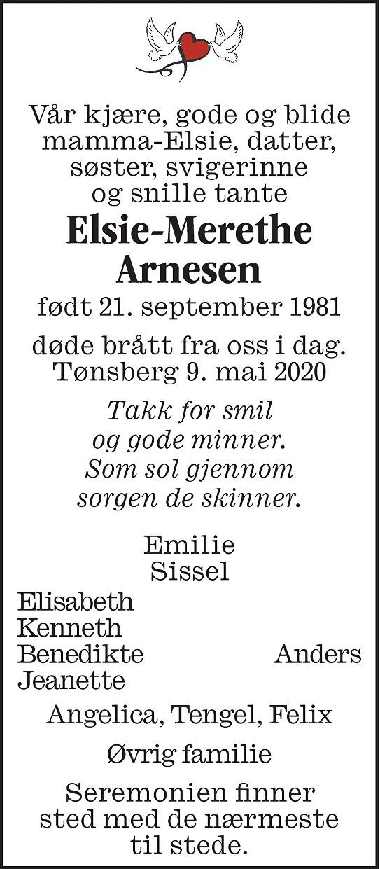 Elsie-Merethe Arnesen Dødsannonse