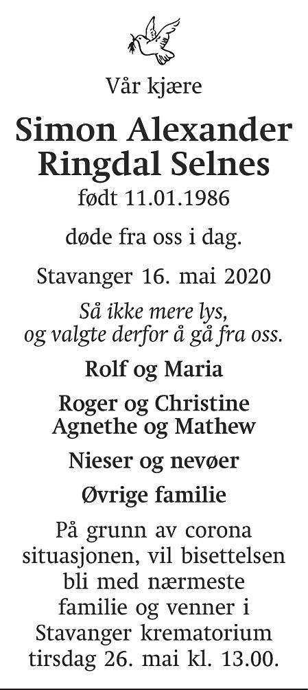 Simon Alexander Ringdal Selnes Dødsannonse