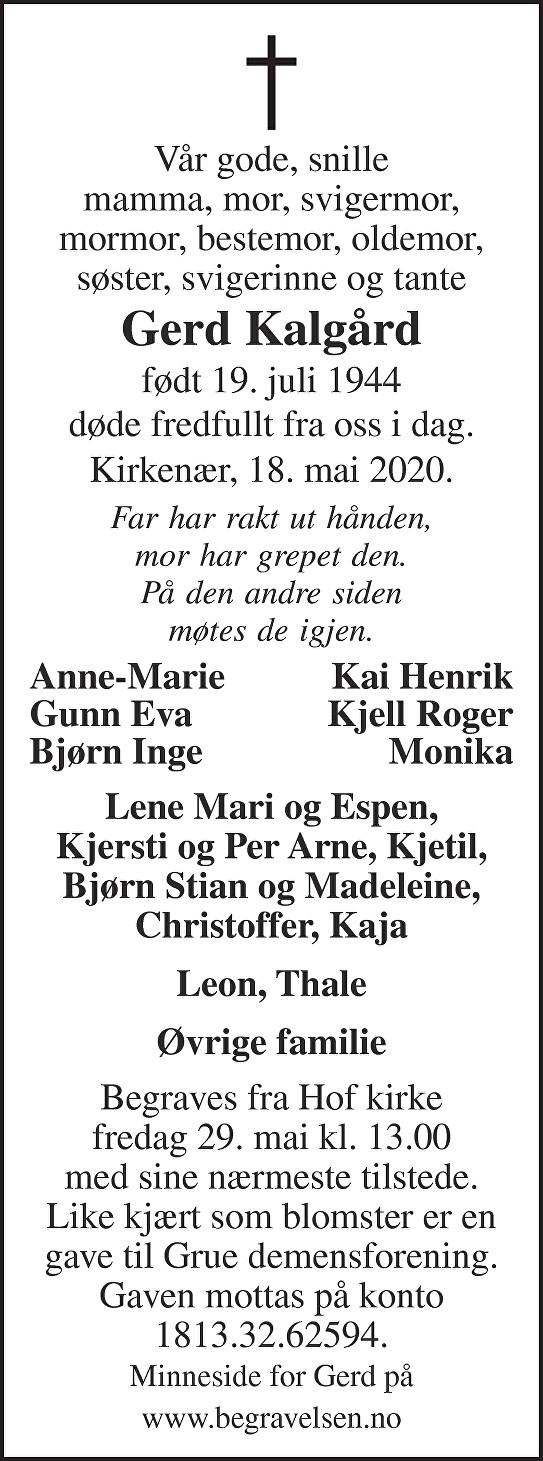 Gerd Kalgård Dødsannonse