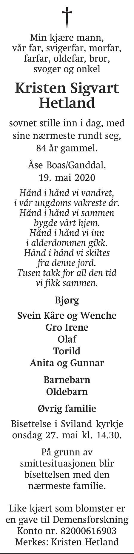 Kristen Sigvart Hetland Dødsannonse