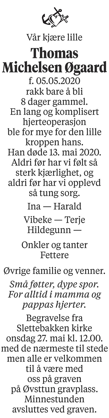 Thomas Michelsen Øgaard Dødsannonse