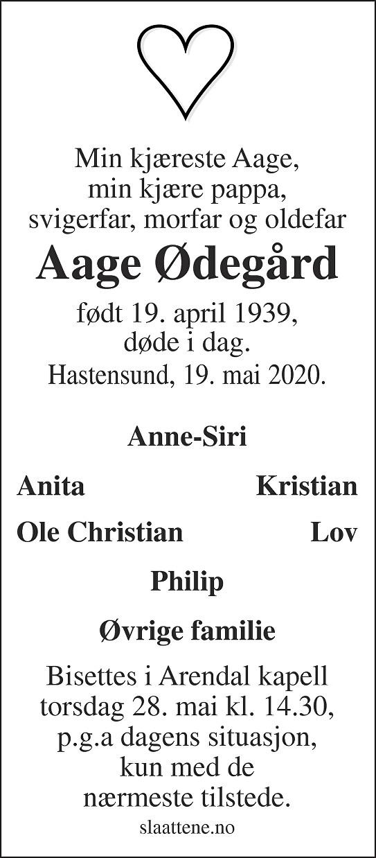 Aage Ødegård Dødsannonse