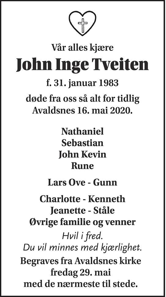 John Inge Tveiten Dødsannonse