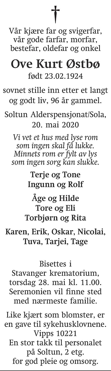 Ove Kurt  Østbø Dødsannonse