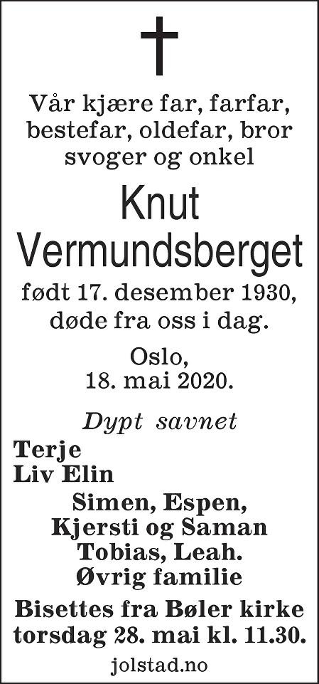 Knut Vermundsberget Dødsannonse