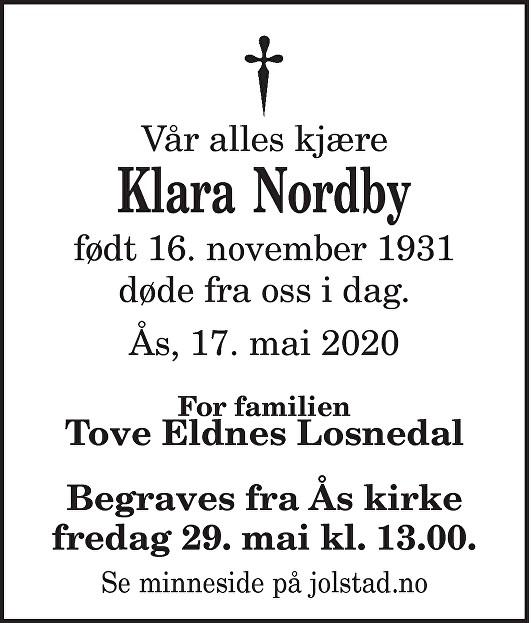 Klara Nordby Dødsannonse