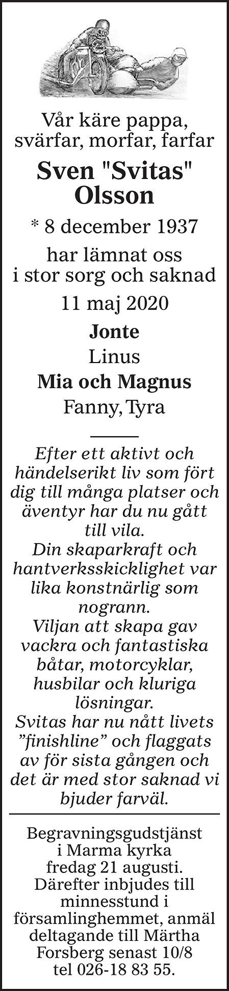 Sven Olsson Death notice