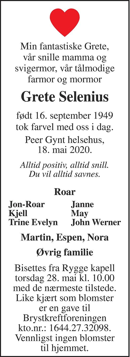Grete Selenius Dødsannonse