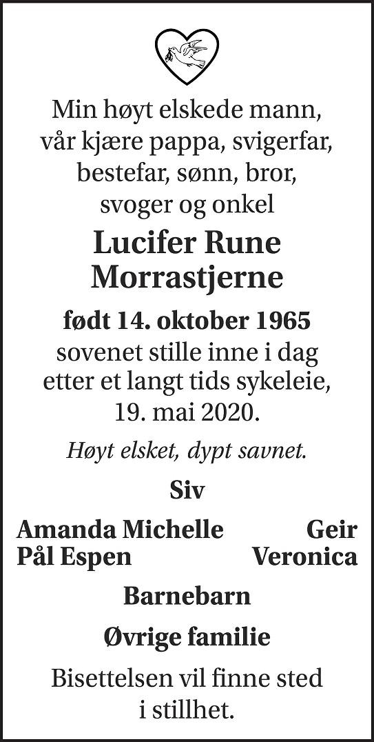 Lucifer Rune Morrastjerne Dødsannonse